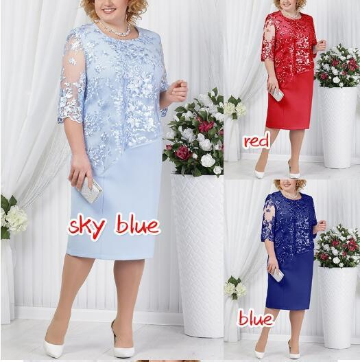 best selling Plus Size Mother of Bride Groom Dress Sheath Lace Satin Knee Length 3 4 Long Sleeve Mother Formal Evening Prom Gowns 5XL FS7261