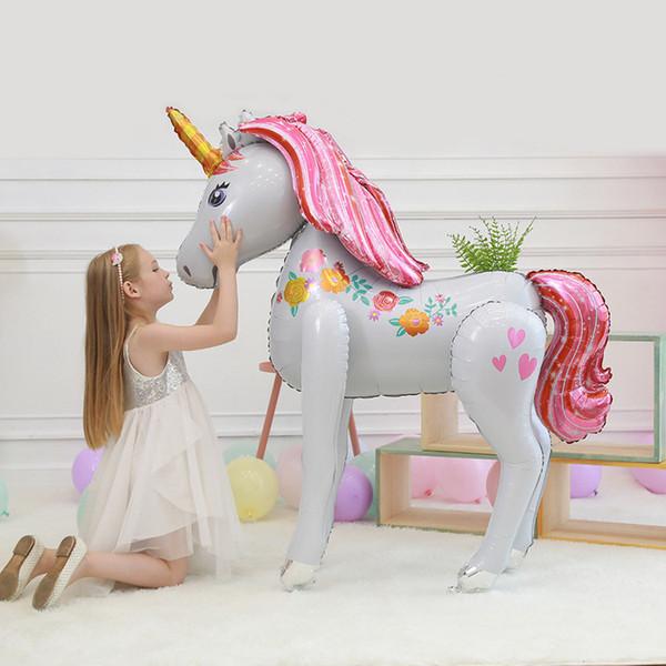 Toys Unicorn Balloon Party Decorations Supplies 3D Large Unicornio Walking Animal Foil Balloons Girls Birthday Theme Party Decor Favors 4908