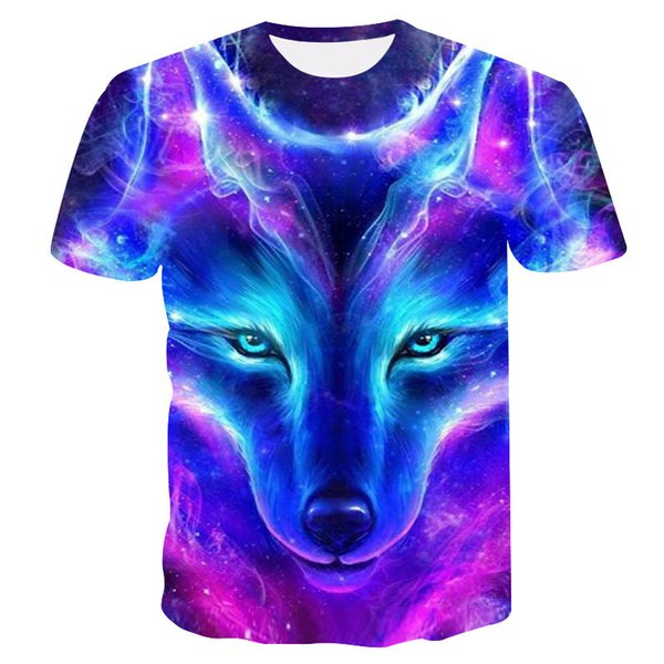 3d Number Printing Colour Wolf Short Sleeve T shirts for men Sale tshirts brands