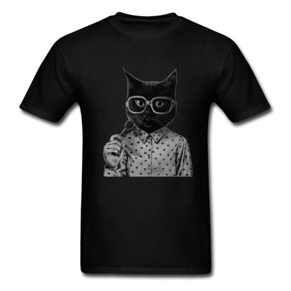 Sweet Cat T Shirt For Men Funny Wholesale Discount Kawaii Animal Tops Tees Printed Black Kitty T Shirts Cotton Tshirt Candy Lover Brand