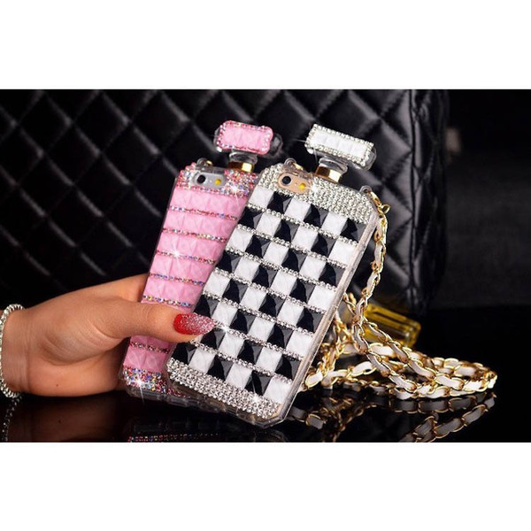 DIY CellPhone Case For iPhone 6 6S 7 8 Plus X Luxury Bling Diamond Crystal Rhinestone Chain Perfume Bottle Phone Back Cover for iPhone XS X