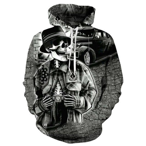 New Gothic 3D love skull print hooded Sweatshirt hip hop men's / women's pullover hooded Interesting skull hoodie men's top