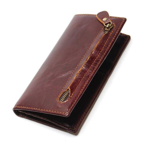 Portafoglio uomo in vera pelle nuovo Bifold Rfid Blocking portafoglio per uomo carta di credito protezione della pelle bovina cerniera borsa lunga