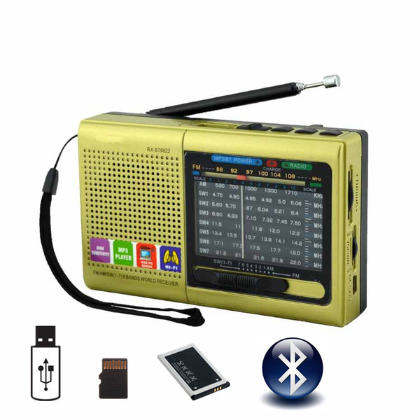 Bluetooth Speaker Rechargeable Portable MP3 Radio Receiver Am/Fm/SW Radio Support USB Flash Disk TF Card MP3 Player Music Files