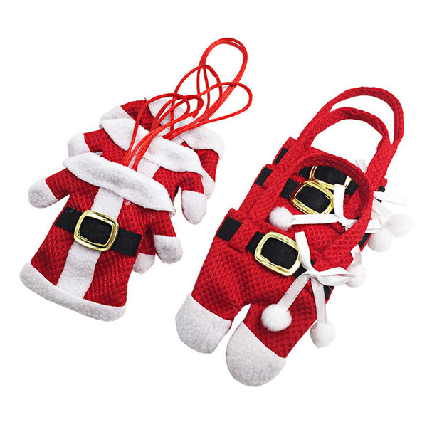 6Pcs New Year Chirstmas Tableware Holder Knife Fork Cutlery Set Skirt Pants 2020 Navidad Natal Christmas Decorations for Home