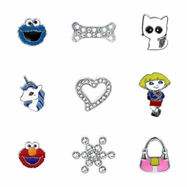 Coeur flocon de neige licorne chien os de chat 10pcs diapositives charmes accessoires de bricolage Dia interne 8mm fit 8mm bracelets collier de compagnie collier