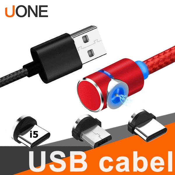 3 in 1 90 degree Magnetic Charger Cable LED Nylon Stronger Metal Magnet Cord 1M 2M Micro USB Type C cable For Samsung S10 LG android