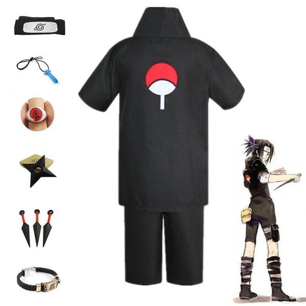 Anime Naruto Hokage Sasuke Uchiha cosplay 2th costume noir à manches courtes unisexe Set uniforme (Taille asiatique)