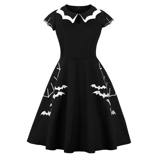 Women Gothic Dress Vintage Embroidery Bat Animal Print Plus Size Black A  Line Swing Casual School Party Girl Retro Summer Dress Striped Summer  Dresses ...