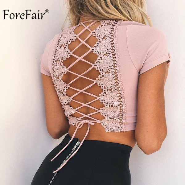 Forefair Sexy Cross Lace Up T Shirt Women 2018 Summer Autumn Short Sleeve Backless Crop Shirt Pink Ladies Top C19041001