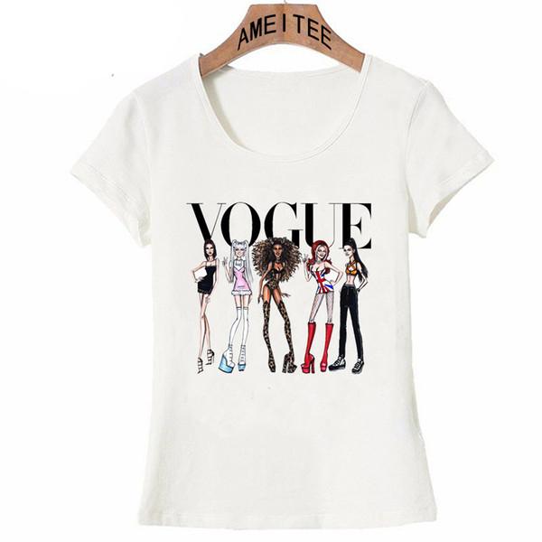 Битник Прохладный Vogue Spice Girls Футболка Летняя Мода Женская Футболка Смешные Случайные Девичьи Топы Женщина Милые Тройники