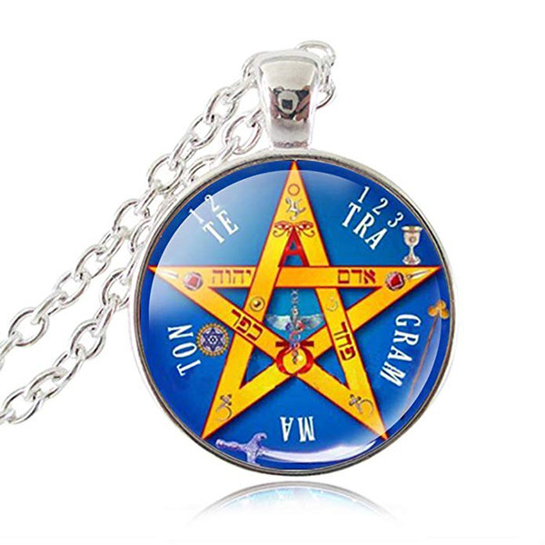 Esoteric Pentagram Pendant Necklace, Pentacle Tetragrammaton Jewelry for Women, Name of God Blessing Jewellery, Wiccan Sweater Long Necklace