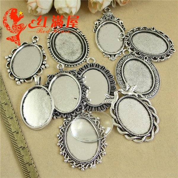 500grams Fit 18*25MM Tibetan antique silver alloy metal stamping blank pendants base oval cameo cabochon setting bezel tray jewelry making