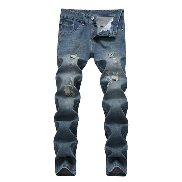 Vintage Men Ripped Slim Fit Straight Denim Jeans Jogger Long Pants Trousers Free Shipping
