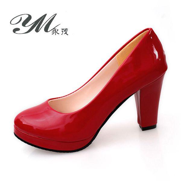 Designer Dress Shoes YM Women Pumps Summer Casual Round Toe Shallow 9cm High Heels Sexy Platform Women Office & Career Thick Heel Pumps