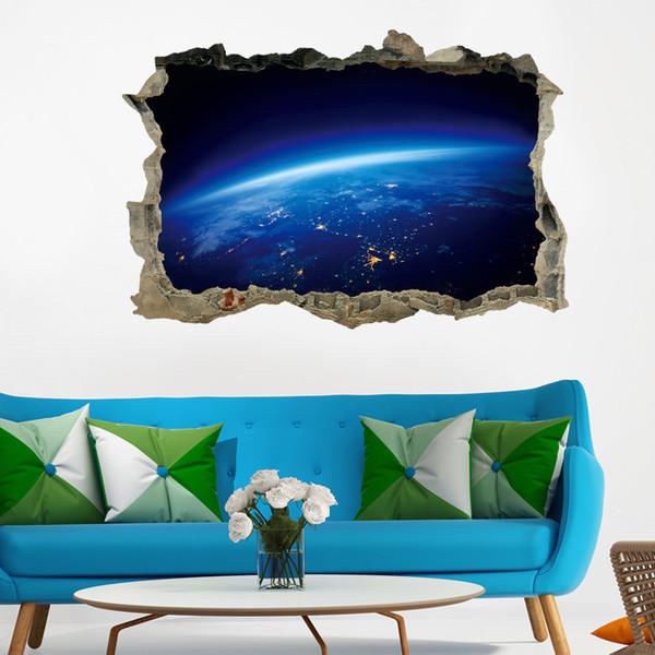 Decoração da casa Criativa 3D Universo Galaxy Adesivos de Parede Para O Telhado Do Telhado janela adesivo Mural Decoração Personalidade Adesivo de Chão À Prova D 'Água