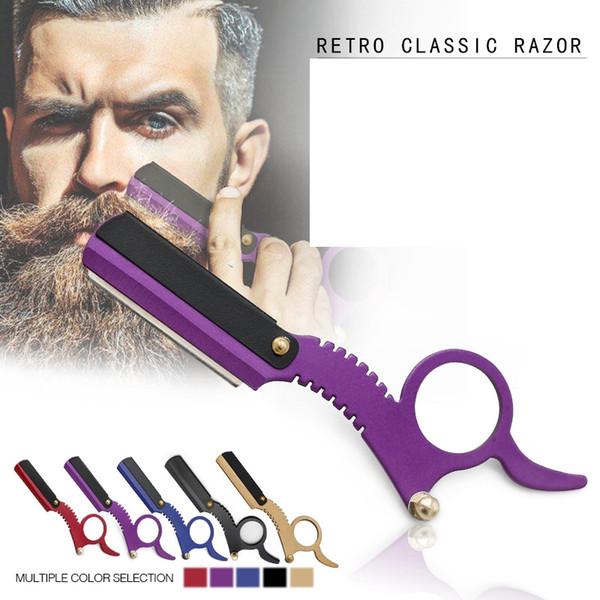 Rasoi manuale in acciaio inox straight edge barbiere rasoio vintage classico viaggio casa barbiere rasoio barba rasatura strumenti di rimozione dei capelli gga2367