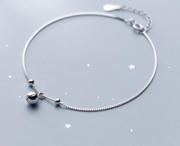 Thin &Slim Authentic REAL. 925 Sterling Silver Fine Jewelry Polished Lucky Ball & Jinjle Bell Anklet Bracelet for Child GTLS818