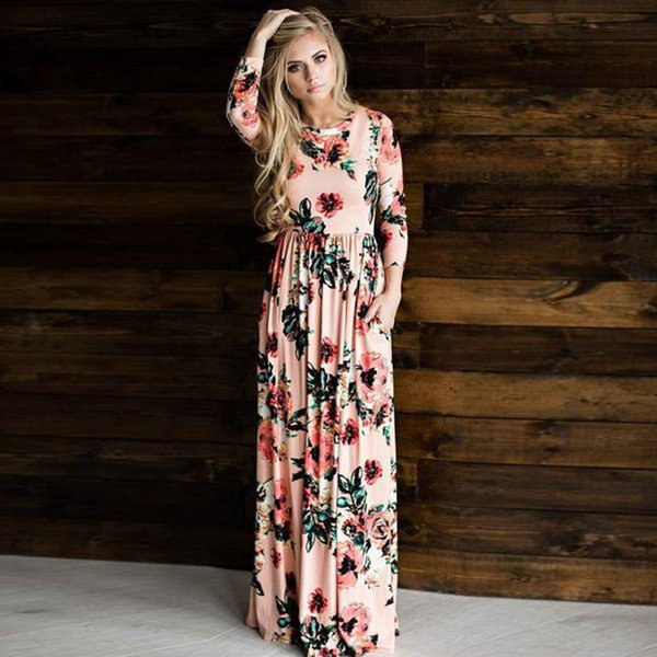 New Fashion Women Long Sleeve Dress Vintage Flower Print Party Club Bohemia O-neck Sexy Maxi Dress Black Casual Dresses Long Maxi Dress