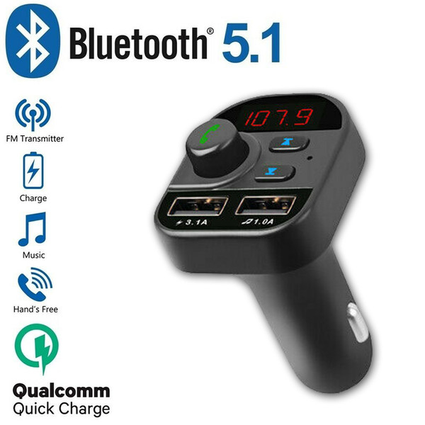 Bluetooth 5.1 Handsfree In-Car Adaptador Wireless Radio Transmissor FM MP3 Player Quick Charge Kit Car 2 USB Charger