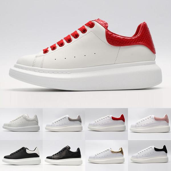 Alta qualità Nero bianco rosso Luxury Fashion Designer Scarpe donna Oro Low Cut in pelle Designer flat uomo donna Casual sneakers 36-44
