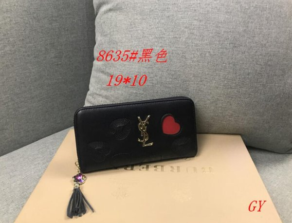 2019 wholesale long wallet multicolor fashion high quality luxury wallet ladies classic zip pocket