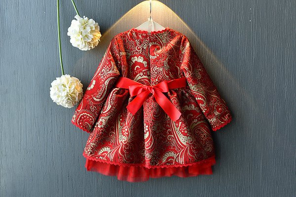 WLG girls Chinese Style New Year dresses kids spring autumn long sleeve embroidery dress baby clothes children 3-7 years