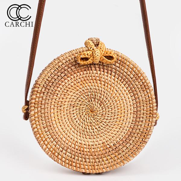 Carchi 2019 Neue Mode Runde Stroh Tasche Handtaschen Frauen Sommer Rattan Tasche Handarbeit Gewebt Strand Handtasche Für Frauen Tasche J190517