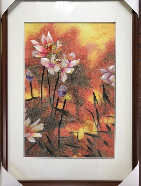 Handmade Art Crafts 100% Mulberry Silk Thread Finished Suzhou Embroidery not include frame ,home decor painting lotus flowers ,40*60cm