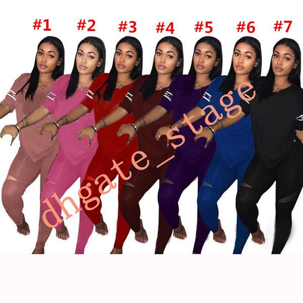 Black Pink Women Tracksuit Short Sleeve T Shirt + Pants Leggings 2PCS Joggers Set hoodie Outfits Sportswear Sports Casual Suit S-3XL A11151