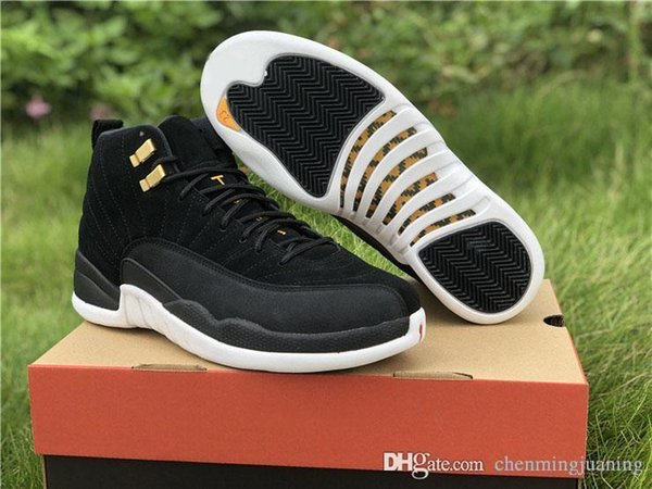 New Top Air Authentic 12 Reverse Taxi Real Carbon Fiber Basketball Shoes Black Gold Suede Upper Retro Man Sports Sneakers 130690-017
