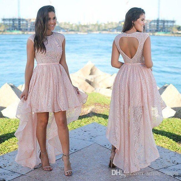 Pink Lace High Low Prom Dresses O Neck With Sash Sweetheart Shape Backless Cocktail Party Dresses SP371