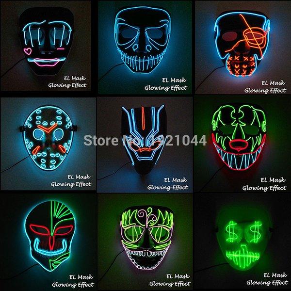 20 neue stile el draht leuchtende maske partei maske led neon leuchten neon maske für halloween party scary party ihnen cosplay decor