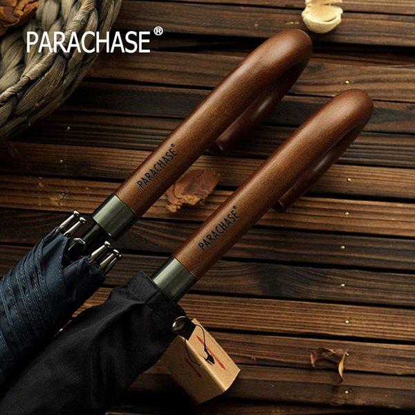 Chegada Nova japonês marca a longo Umbrella 8K Windproof punho de madeira Grande Homens chuvas Chuva Qualidade clássico Paraguas Negócios