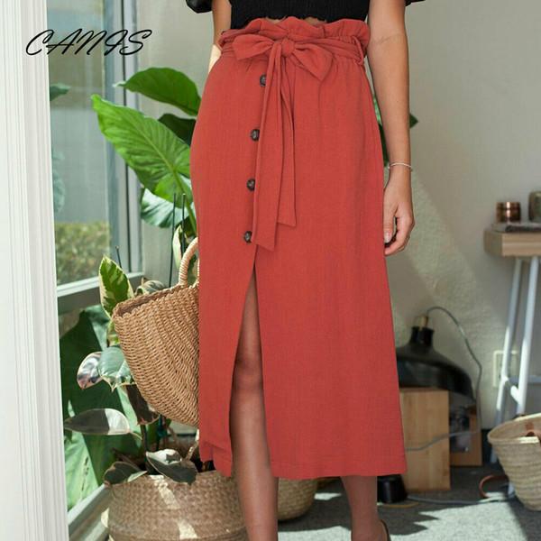 Mode Femmes Midi Jupe Taille Haute Avant Fente Bouton Bandage Jupes Casual Boho Femmes Fille Vêtements