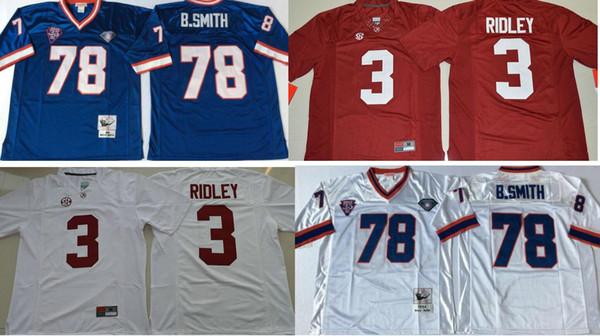 New Mens Alabama Crimson Tide # 3 Ridley 13 Odell Beckham Jr. Büffel 78 Bruce Smith College Vintage American Football Uniformen Sport Trikots