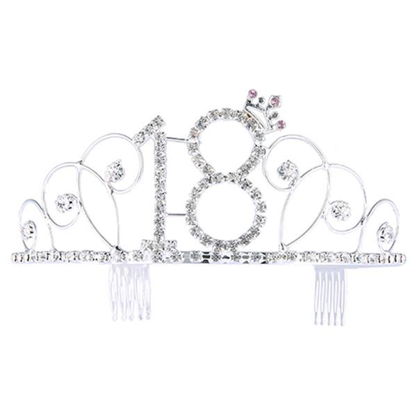 Corona de cumpleaños Sombrero digital Rhinestone Accesorios para el cabello Novia Banquete Diadema Cumpleaños Tiara Crystal Rhinestone Corona