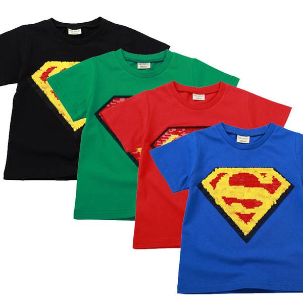 Çocuklar Giysi Tasarımcısı Erkek Kız Işlemeli Altın Işareti Superman Şerit Kısa Kollu Üst Pamuk Pullu Renk Değişikliği Yüz Tees