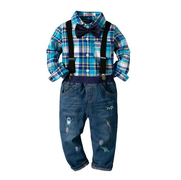 Kinder Jungen 4 Stück Hosenträger Outfits Langarm Baumwolle Kariertes Hemd Tops Jeans Hosen Kleidung Set Kleinkind Jungen Kinder Boutique Kleidung
