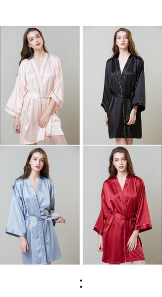 2019 new pajamas hot sale to increase the wedding silk nightgown female summer long-sleeved dress robe ice silk bathrobe home clothes