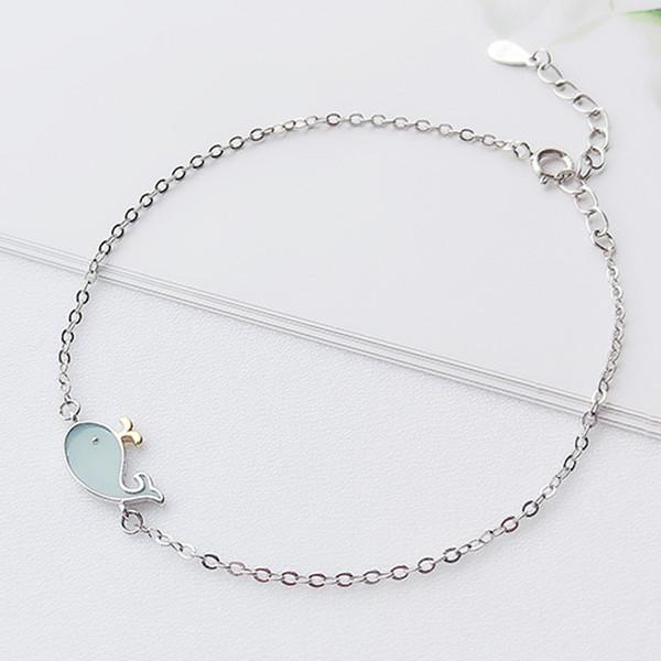 Autentici gioielli in argento sterling 925 blu massiccio con ciondoli a forma di delfino bracciali ragazza choker accessori per gioielli gioielli in argento all'ingrosso 5 pz / lotto