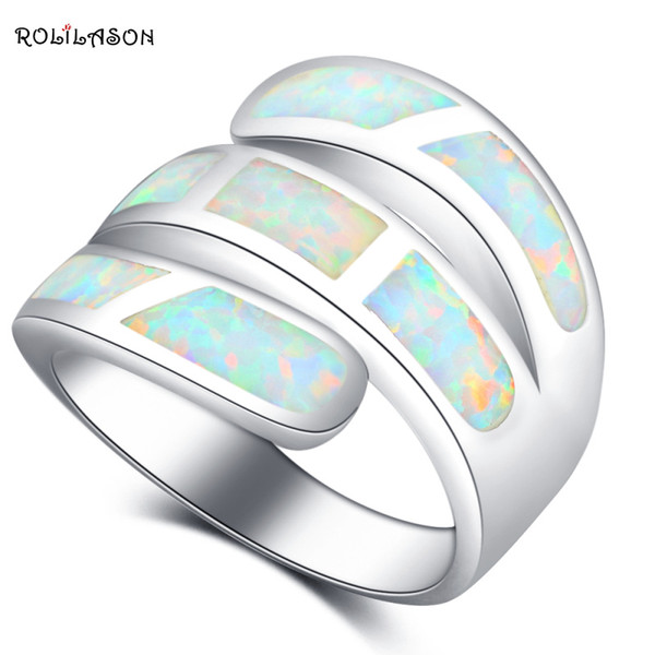 jewelry ROLILASON Luxury for Women Stylish White Fire Opal 925 Silver Prom Fashion Jewelry Rings USA Size #6#7#8#9#10 OR870
