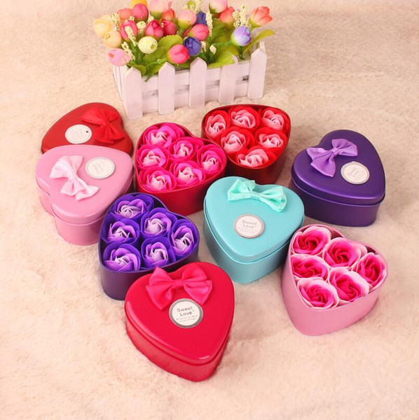 Rose Soap For Bath Rose Flower Soap With Gift Box For Birthday Wedding Valentine Day Gift 6 pcs/set LX6784