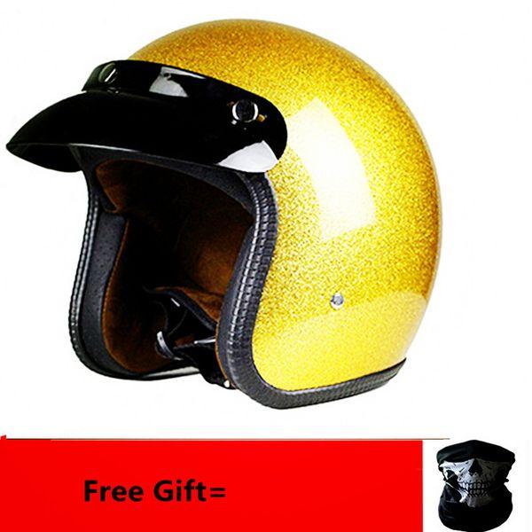Nouvelle arrivée casques ouverts face 3/4 casque personnalisé mens femmes vintage moto rétro cascos de motociclistas casques or