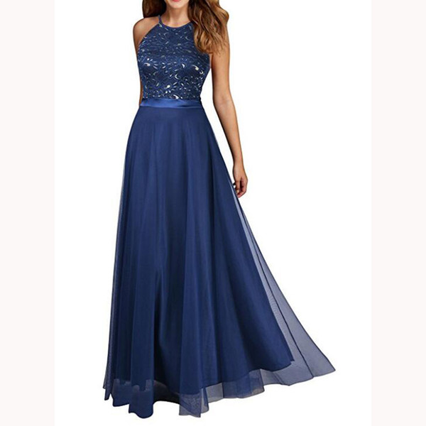 Simple Navy Blue A-line Bridesmaid Dresses Glamorous Sexy Halter Backless Lace Party Wear Dress Custom Made Women's Prom