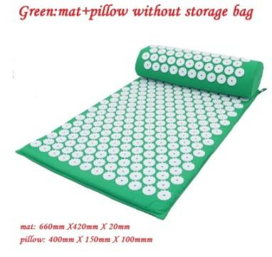 green mat + pillow, no bag