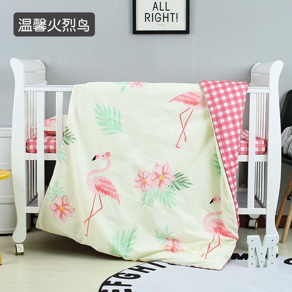 New Arrive Flamingo Newborn Crib Bedding Set Bed Linen 100% Cotton Baby Cot Bedding Blanket ,Duvet/Sheet/Pillow, with filling