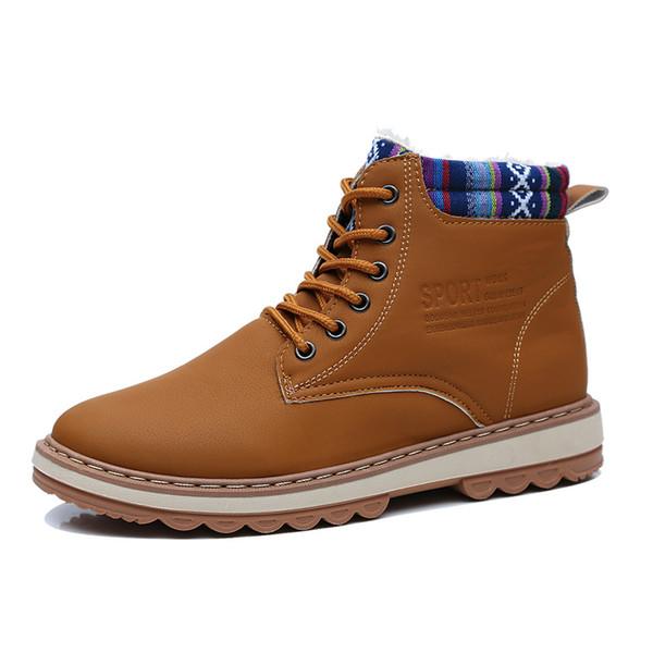 Nova alta no outono e inverno de 2019 para sapatos de couro de algodão à prova de montanhismo montanhismo, sapatos ao ar livre homens a pé escorregadio desgaste-resistir