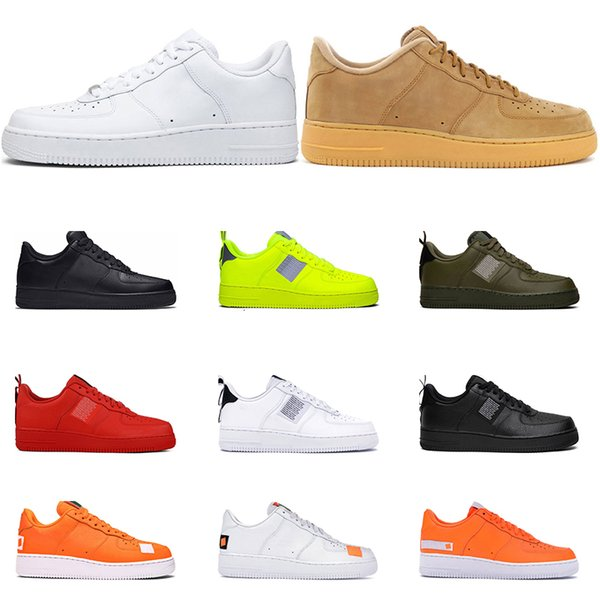2019 nouvelles chaussures de sport en cuir pour hommes femmes blanc utilitaire noir triple blanc blanc noir utilitaire olive ont une journée Plate-forme extérieure Taille 36-45