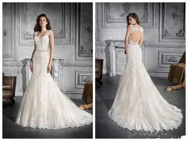 2019 Wedding Dresses robe de mariée Demetrios 775 Ivory Lace Applique Mermaid Wedding Dress V Neck Crystal Waistband Backless Custom Made